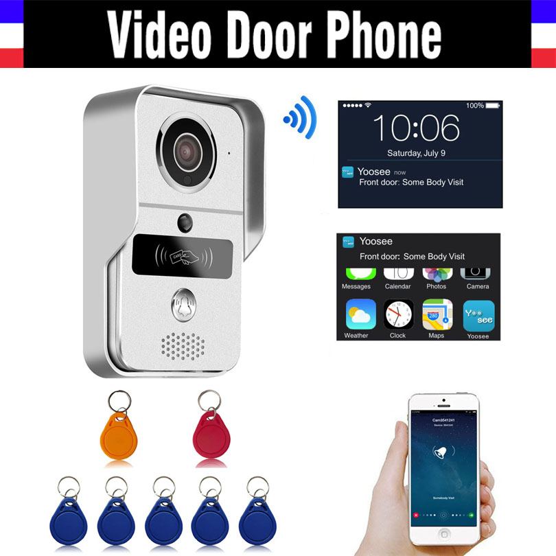 720P HD Smart Wifi Wireless Video Doorbell 5PCS RFID Keyfobs Remote Intercom Unlock IP Video Door Phone for iOS Android Phone PC rfid reader wifi 720p hd video doorbell intercom phone camera for android ios phone with electric strike lock for door access