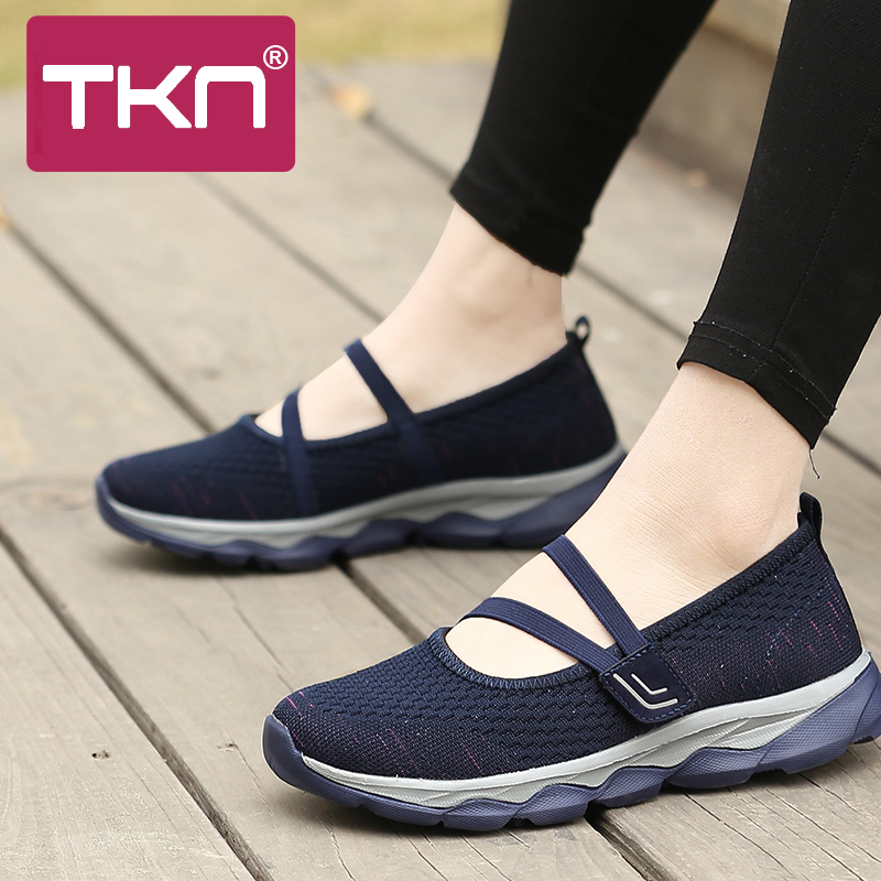 TKN Women Flat Platform Shoes Women Breathable Mesh Casual Sneakers Shoes 2019 Summer Slip On Flat Walking Shoes For Women 929