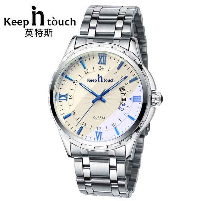 cfc5598a786 KEEP IN TOUCH Luxury Watch Men Quartz Luminous Calendar High Quality Man  Watches Sapphire Crystal Retro Relogios Masculino