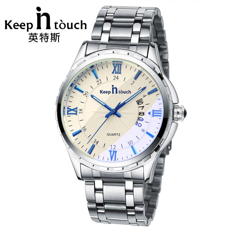 7d75d1524 MANTER EM CONTATO de Luxo Homens Relógio de Quartzo Calendário Luminosa Homem  Relógios de Cristal de Safira de Alta Qualidade Retro Relogios Masculino