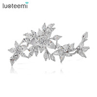 Hot Sell High Quality Brooches For Wedding With Flower Shape Clear AAA Zircon Women Brooch