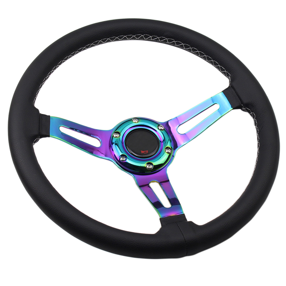 Neochrome Leather Racing Steering Wheel Small Deep 350mm 14inch Universal Steel Spoke Sport Steering Wheel