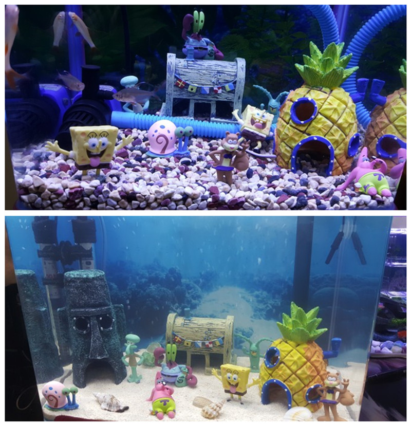 Kartun Akuarium Spongebob Gambar Ornamen Ikan Tank Dekorasi Spongebob Rumah Patrick Patrick Star Gambar Air Dekorasi Dekorasi Aliexpress