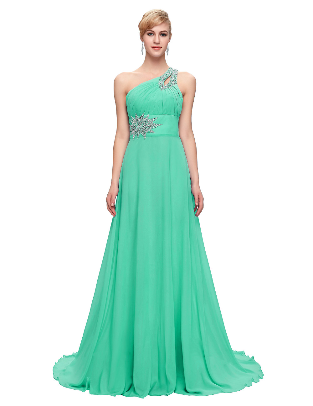 Elegant One Shoulder Long Bridesmaid Dress 9