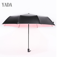 YADA Black Plastic 0 Light Transmission Solid Color Women Folding Rainy Umbrella Anti-UV Waterproof Parasol Gift YD020