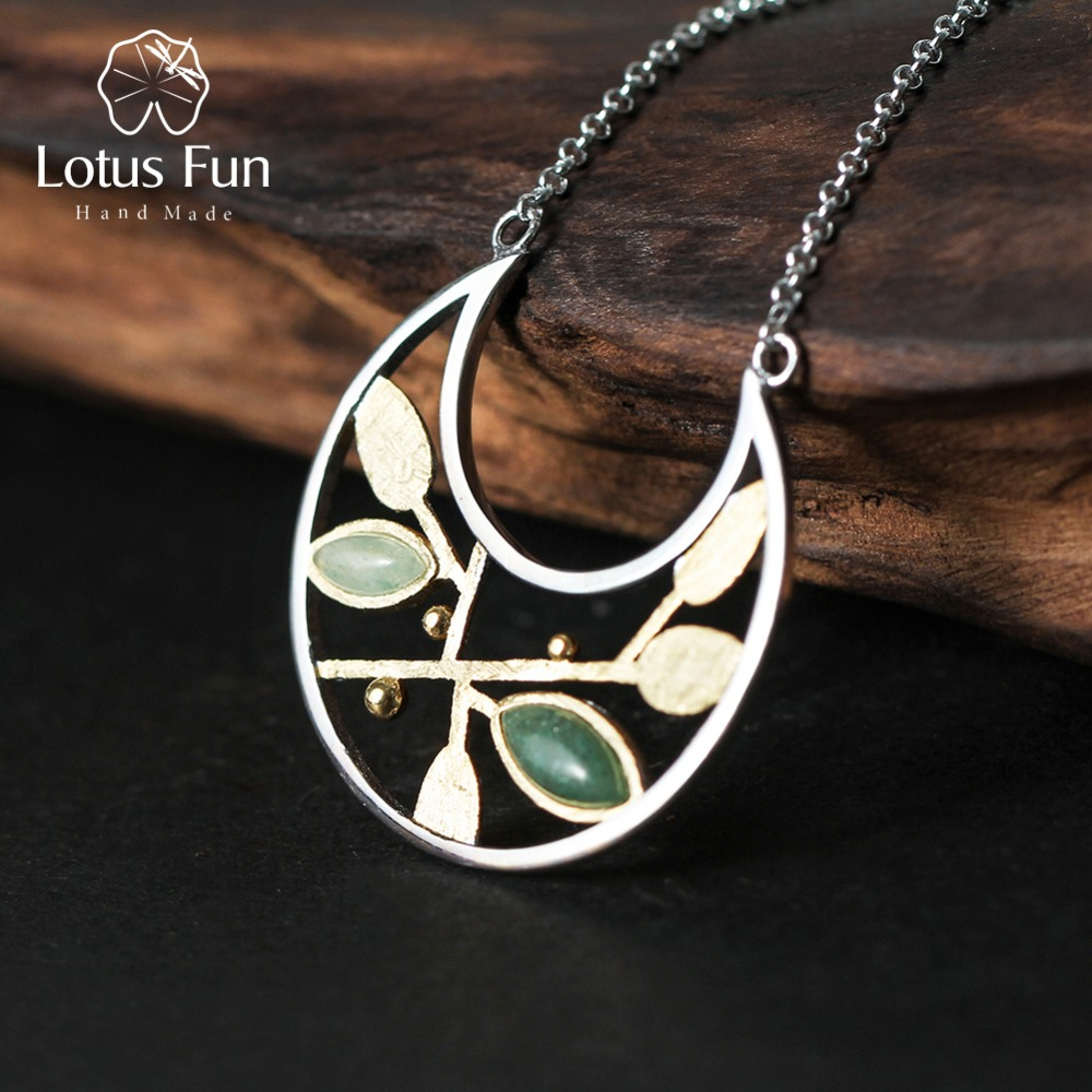 Lotus Fun Real 925 Sterling Silver Natural Stone Handmade Fine Jewelry Spring In The Air Leaves Necklace With Pendant For Women