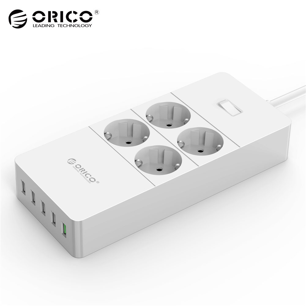 ORICO HPC-V1 USB Electrical Socket 4 AC Outlets and 5 USB Ports Power Strip Quick Charger 2.0 with 1.5M Cable EU Plug White