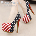 New 2016 Large Size 34~45 Fashion British Flag Sexy 14 cm High Heels Women Pumps Ladies Platform Shoes Woman Chaussure Femme