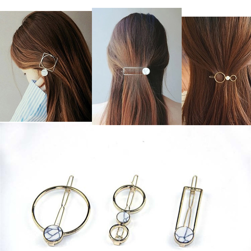 UNTAMED Women Geometric Barrettes Bobby Pin Hair Accessories Hairpins Hair Clip for Girls Alloy Gold Color Hairgrips
