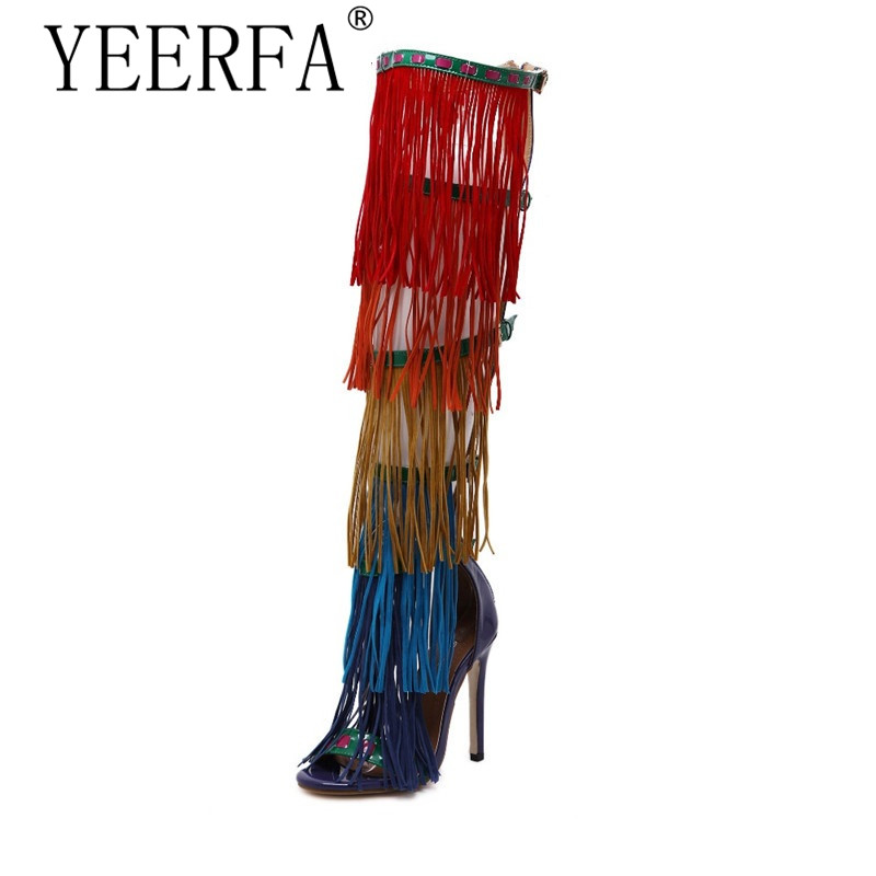 YEERFA 2017 New Hot Summer Bohemian Women Fetish Shoes Colorful Tassel Gladiator Sandals Over The Knee Thigh High Boots the new solid color colorful beads thick with sandals jewel adornment for women s shoes