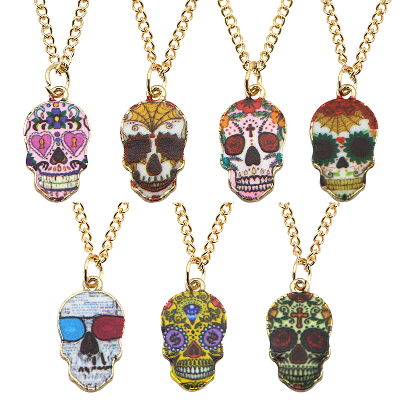 Trendy Fashion Colorful Skull Pendant Gothic Punk Unisex Skull Head Gold Color Chain Necklaces For Men Women Halloween Gifts