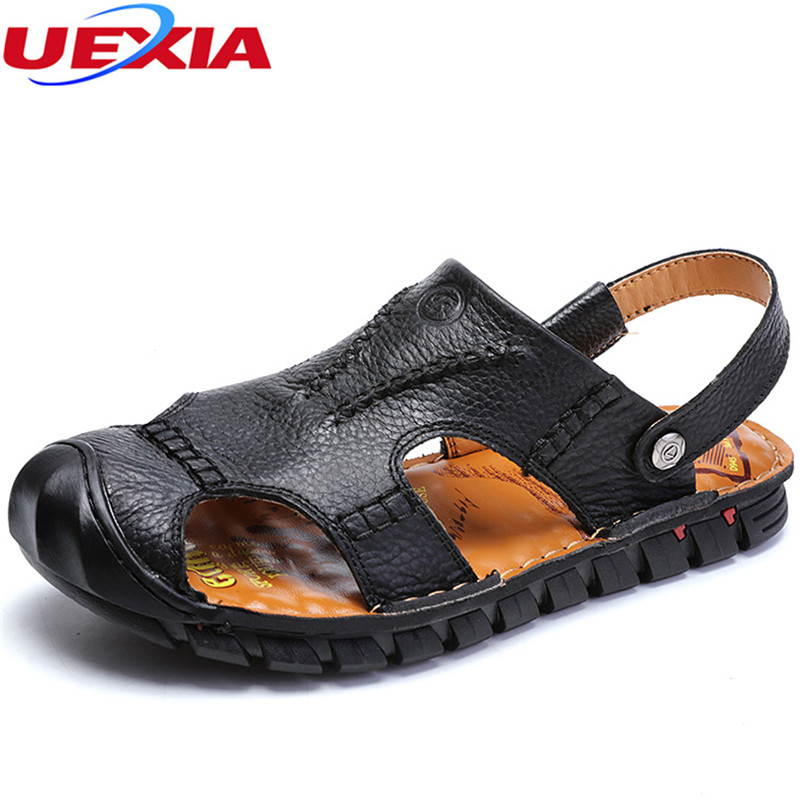 UEXIA New High Quality Men Leather Sandals Zapato Sandals Breathable Comfortable Summer Shoes Sandalias Fashion Flat Male Sandal