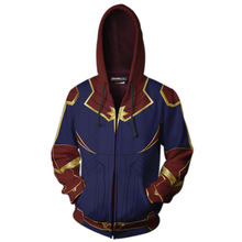 2019 Spring NEW Avengers Captain Marvel Cosplay Costumes zipper jacket Hoodie Ms. Marvel halloween Sweatshirt
