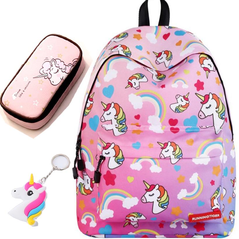 Unicorn 3D Printed Casual School Backpack Women Set 1