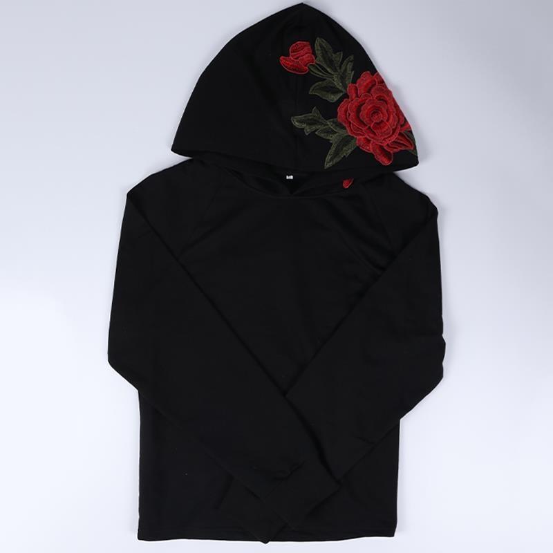 Embroidery rose hoodie sweatshirt women black cool hoody