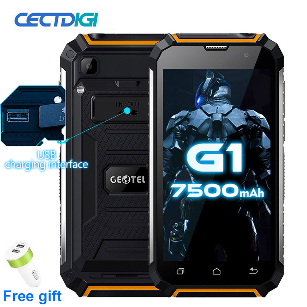 Original Geotel G1 3G WCDMA Phone 7500mAh Power Bank Mobile Phone Android 7.0 MTK6580A Quad Core 2GB RAM 16GB ROM Cell Phones  - buy with discount