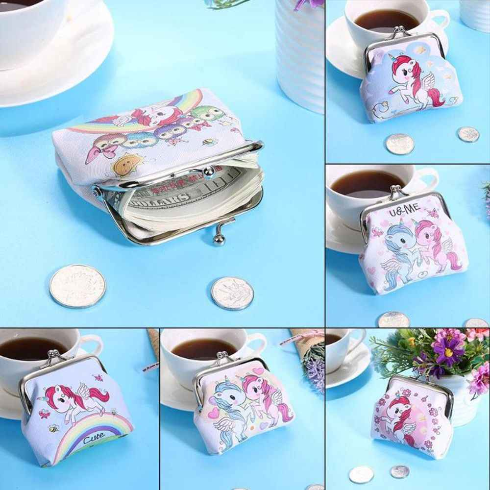Cartoon Animal Leather Coin Purses Women Hasp Small Wallets Kids Girls Boys Cute Unicorn Retro Mini Change Purse Lady Pocket