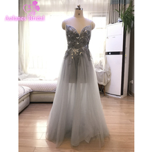 Gray Tulle Long Prom Dresses 2019 Backless 3d Flowers Evening Gowns Party Dress Sexy See Through V-neck Vestido De Festa