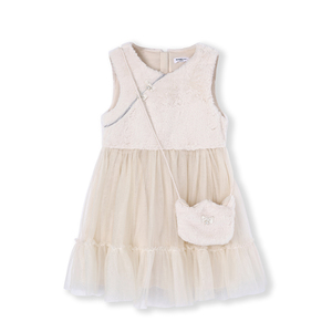 Image 4 - Balabala Girls Rabbit Fur Sleeveless Tulle Dress Cross Body Bag Children Kid Max Fabric Wedding Party Dresses Lined