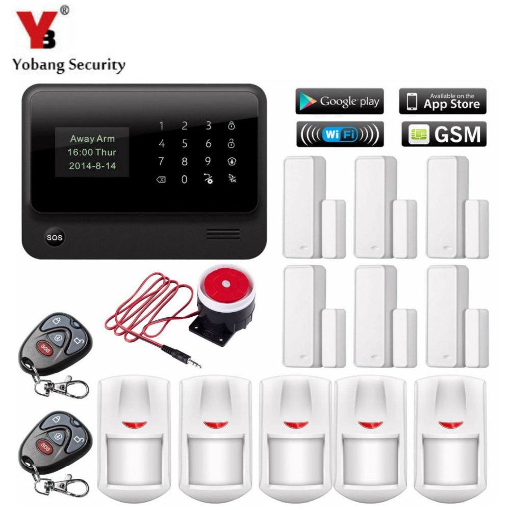 YobangSecurity Android IOS APP WiFi GSM Home Security Alarm System Door Magnetic Sensor Wireless Motion Detector Wired Siren kerui w2 wifi gsm home burglar security alarm system ios android app control used with ip camera pir detector door sensor