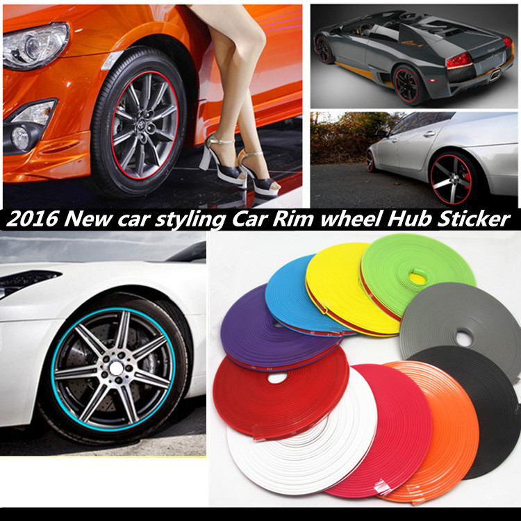 Shop1956185 Store 8m car styling Tire Tyre Rim care protector Hub Wheel Stickers strip for BMW SKODA kIa Opel Toyota Audi car accessories