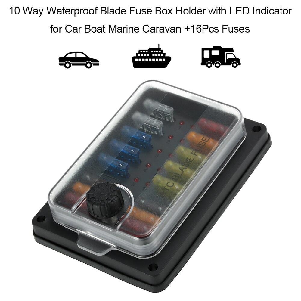 Blade Fuse Box 10 Way Universal Fuse Holder