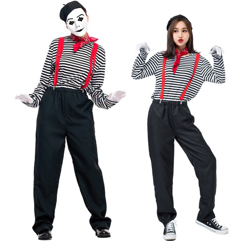 Adult Women Halloween Joker French Mimic Clown Couples Costume Mimes Artist Cosplay Clothing Striped Top Pants Kit For Ladies