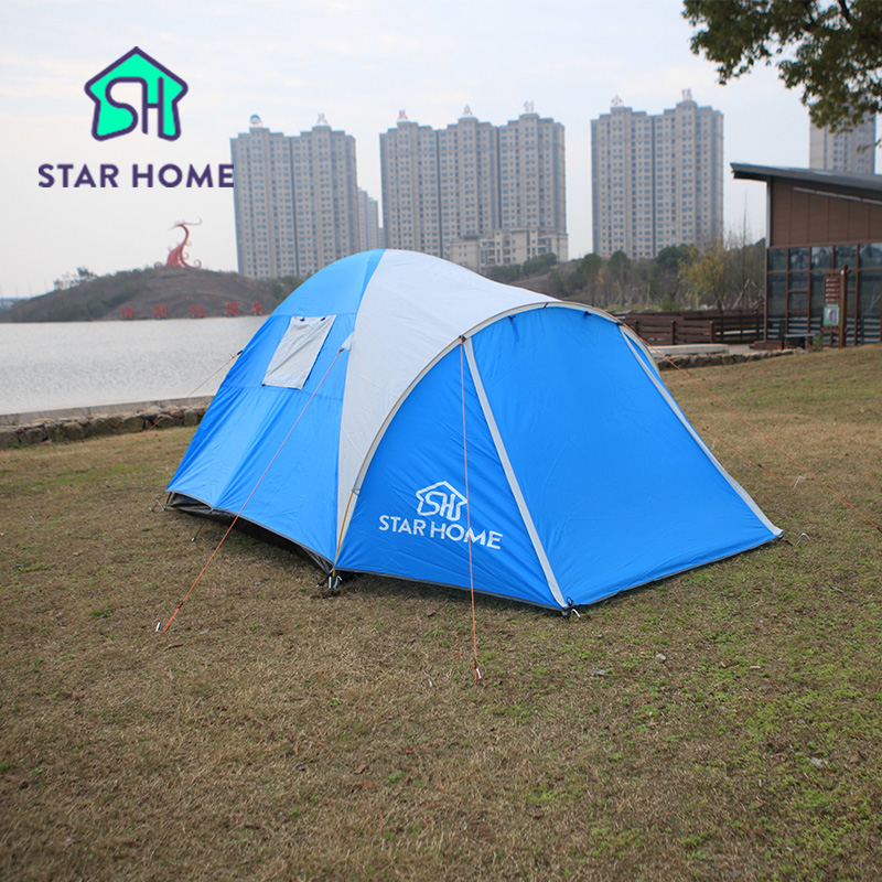 Star Home Brand Camping Tent 2-3 Person Waterproof Anti-Uv Tent With Side Window Polyester Fabric Family Tent For Park Party high quality outdoor 2 person camping tent double layer aluminum rod ultralight tent with snow skirt oneroad windsnow 2 plus