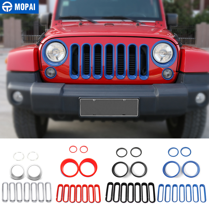MOPAI Car Exterior Front Race Grille Headlight Turn Light Lamp Cover Decoration Stickers for Jeep Wrangler