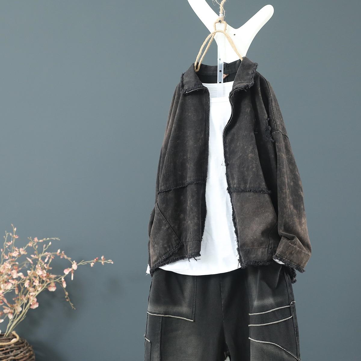Vintage Ladies Denim Cotton Women Jacket Patchwork Casual Loose Thin Sanded Back Hem Slit Female Coat