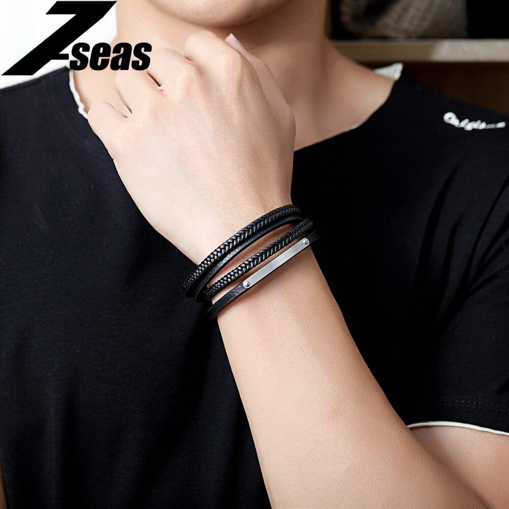 7SEAS Mens Wrap Bracelet Hand-Woven Double Multiple Leather Bracelet For Man Rope Braided Bracelet Top Quality Jewelry JM1265