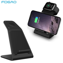 FDGAO Fast Qi Wireless Charger <font><b>For</b></font> iPhone 8 X XS Max XR Wireless Charging <font><b>Holder</b></font> <font><b>For</b></font> Apple Watch 3 2 <font><b>For</b></font> Samsang S9 S8 Note 9 8