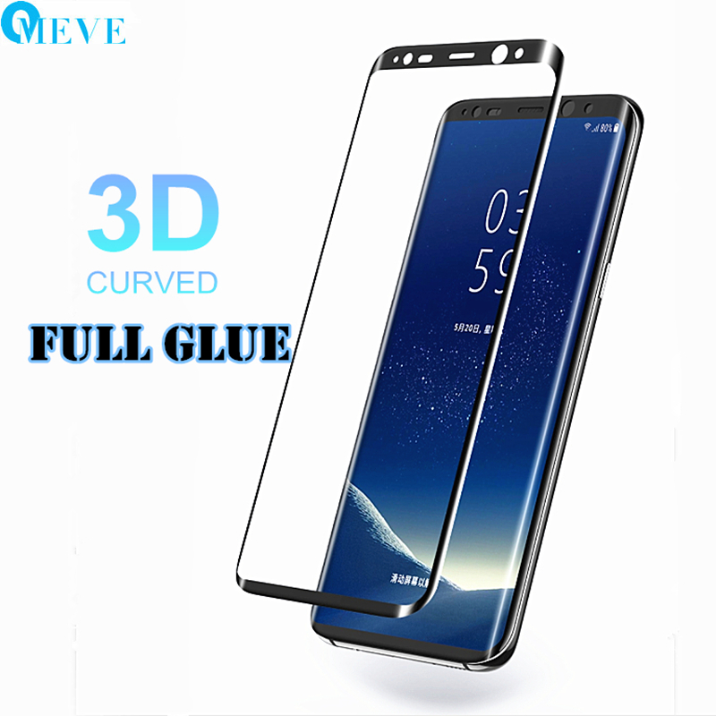 OMEVE Full Glue Screen Protector for Samsung S8 Plus Case Friendly 3D Curved Full Adhesive Tempered Glass for S9 Plus/Note 8