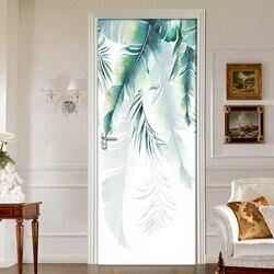 2 sztuk/zestaw Nordic ręcznie rysowane liście bananowe 3D drzwi naklejki ścienne samoprzylepne tapeta wodoodporna naklejki Decor drzwi naklejki ścienne w Naklejki na drzwi od Dom i ogród na