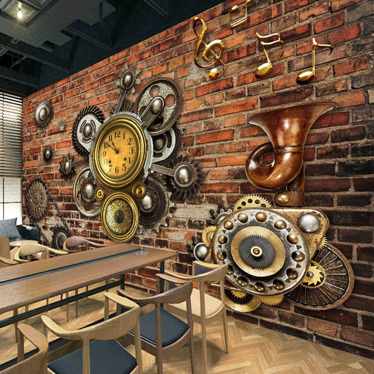 Photo wallpaper 3D red brick wall painting European retro music gear wallpaper coffee shop living bar machinery industry mural 自宅 ワイン セラー