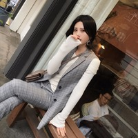 High Quality Autumn New England Style Suits Vest Pants Suits Fashion Suits Skirt Vest Women 2