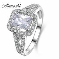 AINUOSHI Luxury Engagement Halo Ring for Women 925 Sterling Silver 2 Carat Emeralded Cut Wedding Bridal Ring Factory Wholesale