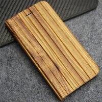 En gros 30 pcs/Lot En Bois Couverture pour iPhone 6 Plus le Cas pour iPhone 6 s Plus Cas Bois Bambou En Cuir Flip Couverture avec le Support de Stand