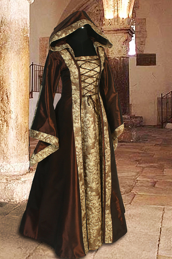 Medieval Dress Gown Renaissance Costume Clothing with hood Sorceress Gown witch Medieval Fantasy Costume