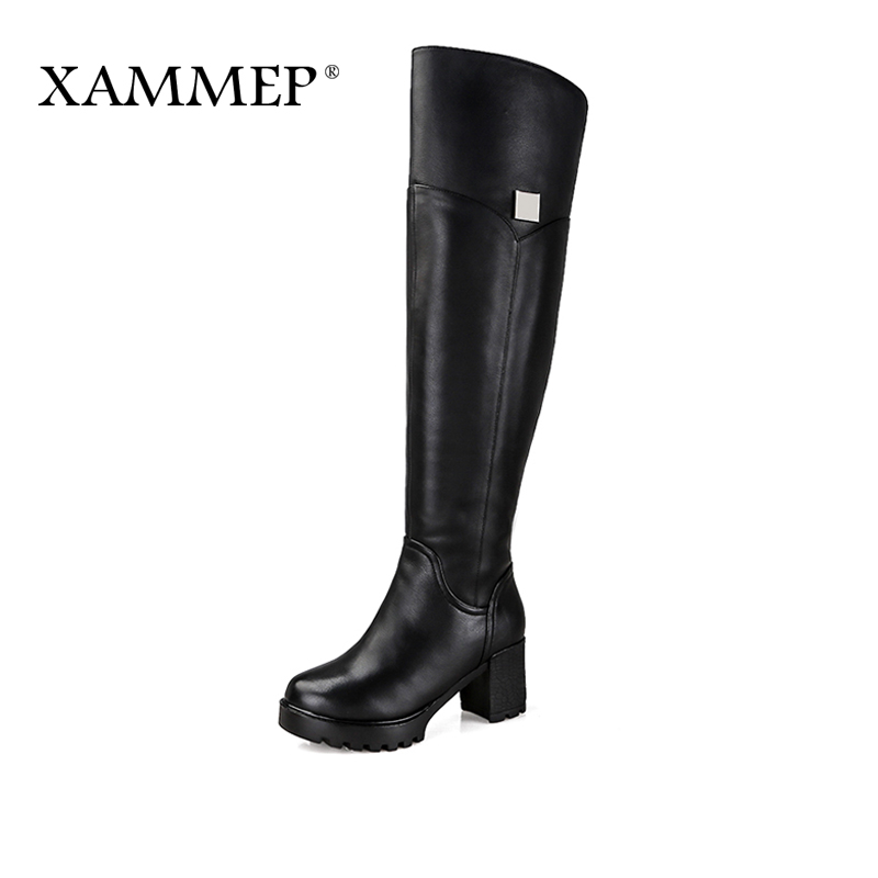 Xammep Brand Women Winter Shoes Over The Knee Boots Natural Fur Genuine Leather Women Winter Boots