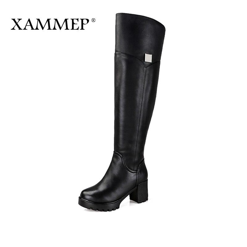 Xammep marca mujeres zapatos de invierno sobre la rodilla botas de piel Natural invierno de las mujeres del cuero genuino botas de invierno zapatos más grande tamaño