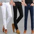2016 de primavera y verano nuevos pantalones vaqueros de los pantalones vaqueros Coreanos/Hombre stretch tight lápiz pantalones de algodón/Los Hombres pierna delgada pantalones tamaño 27-36