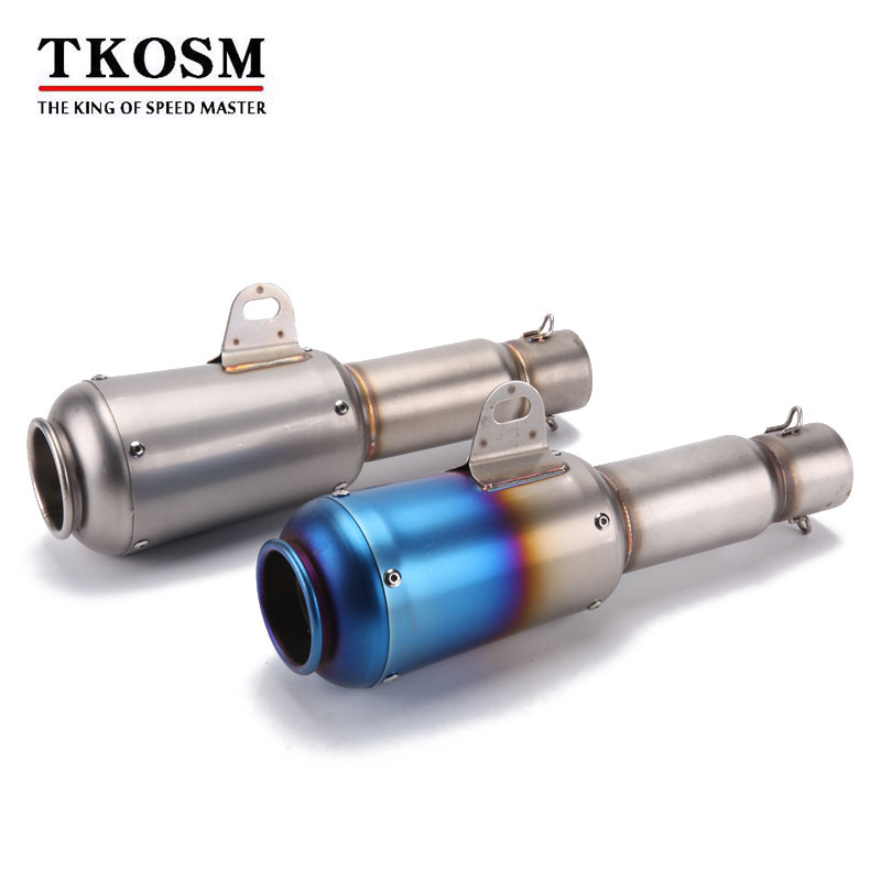 TKOSM Motorcycle Scooter Exhaust Muffler Pipe 51mm Refit Stainless Extended Exhaust Muffler Tail Pipe Universal for Moto ATV