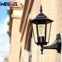 (WECUS) estilo europeo de la pared antigua, lámpara impermeable al aire libre patio/Villa balcón, sin fuente de luz