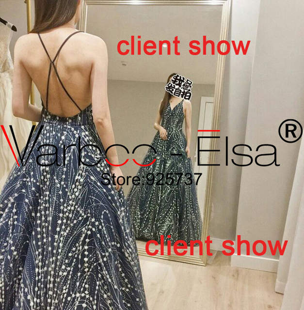 VARBOO ELSA Sparkling Sequined Women Party Dresses 2018 Sexy Backless Prom  Dress Custom Arabic Glitter Blue Sequin e7d5ebfde716