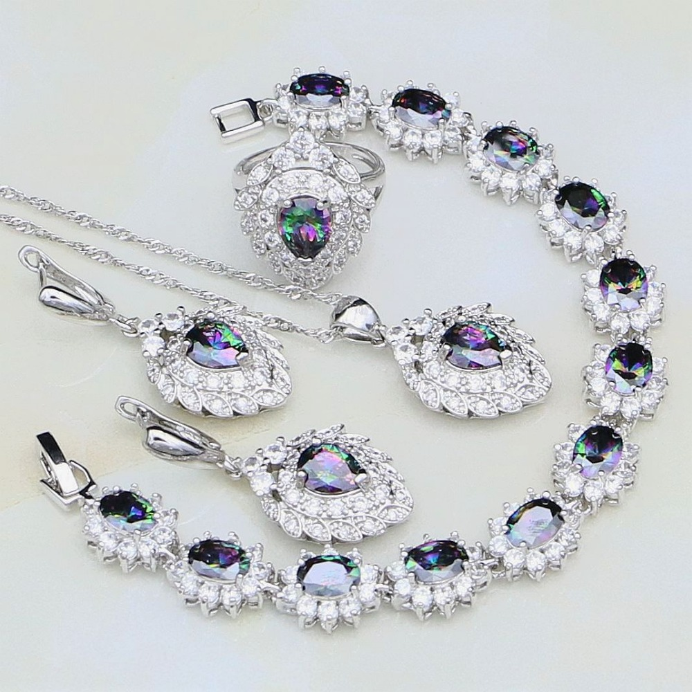 Mystic Rainbow Fire Cubic Zirconia White CZ 925 Silver Jewelry Sets For Women Party Necklace/Earrings/Pendant/Ring/BraceletMystic Rainbow Fire Cubic Zirconia White CZ 925 Silver Jewelry Sets For Women Party Necklace/Earrings/Pendant/Ring/Bracelet