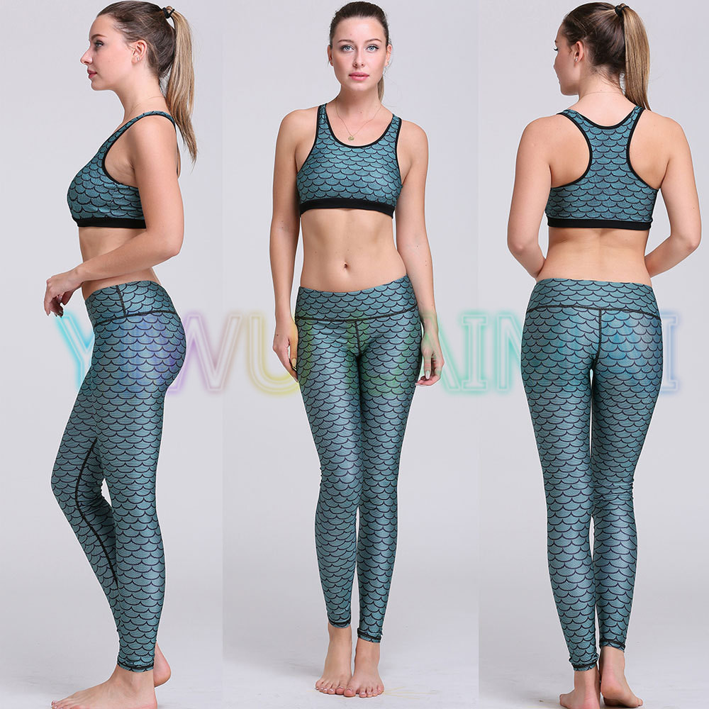 8481bf39e3e8d Yoga Set Mermaid Scales petrol blue yoga bra JIGERJOGER 2016 trainer High  band women fitness set workout pants gym sportswear