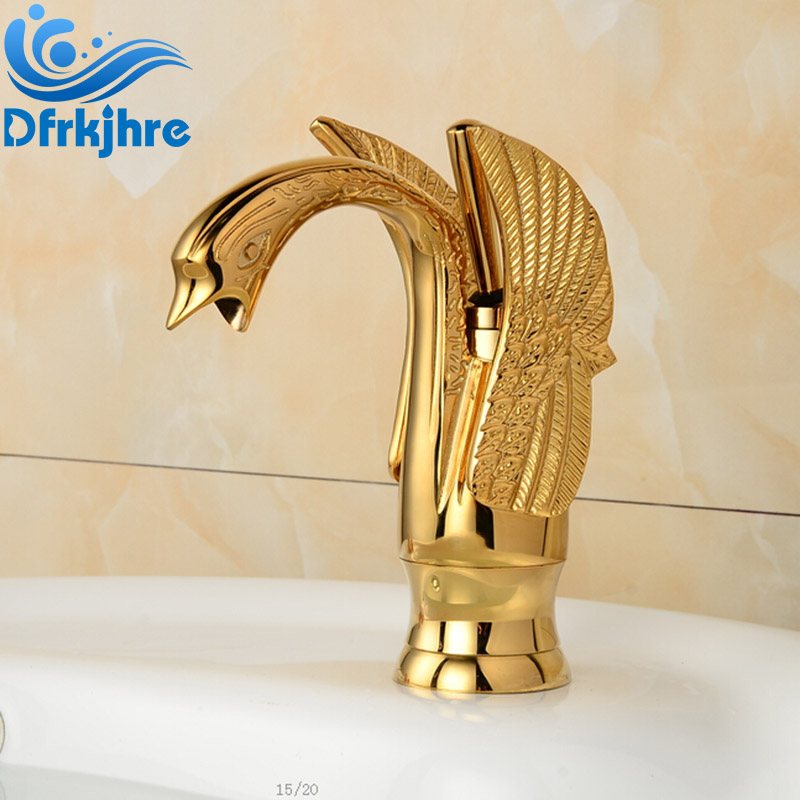 Deck Mounted Golden Brass Swan Basin Faucet Single Handle Countertop Sink Mixer deck mounted golden brass swan basin faucet single handle countertop sink mixer