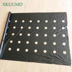 Image 4 - 95cm * 50m 5 fori 0.03mm nero pellicola per pacciamatura giardinaggio fiore piante per piantine vegetali membrana in plastica perforata con Film in PE