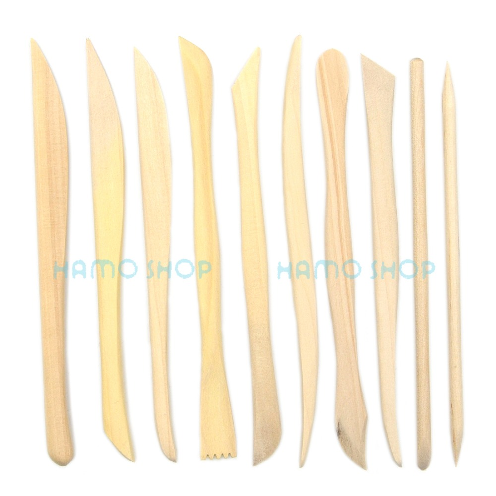 10pcs Wooden Clay Sculpture Pottery Carving Tools for Sculpting Modeling Set Kits 6pcs fashion stick aluminium pole clay pottery tools 11 5cm length for art pottery sculpture